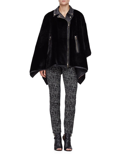 Shearling Fur Zip-Front Biker Poncho & Mid-Rise Skinny Trousers