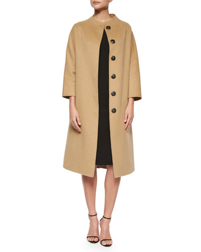 Double-Faced Belted Wrap Coat & Princess-Seamed Rolled-Cuff Sheath Dress