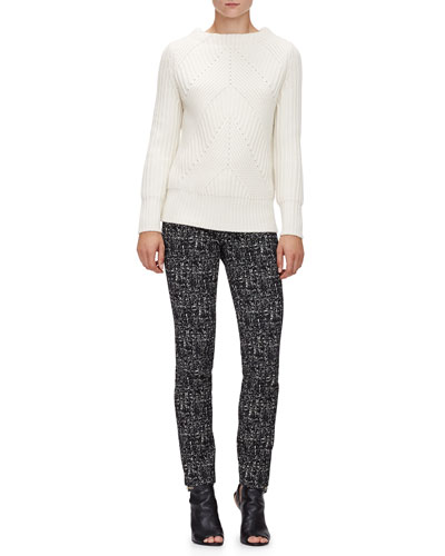Ribbed Transfer Jewel-Neck Sweater & Mid-Rise Skinny Trousers