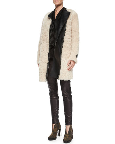 Long-Sleeve Shearling Fur Coat, Angled-Stripe Self-Tie Blouse & Stretch-Leather Leggings
