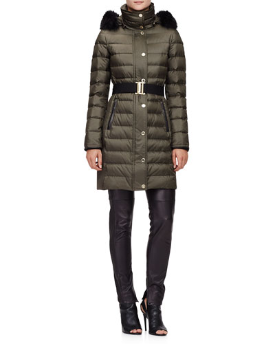 Fur-Trimmed Quilted Puffer Coat & Stretch-Leather Leggings