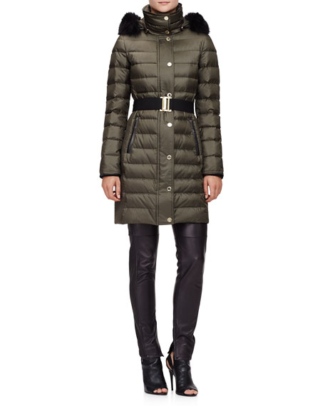 Burberry London Fur-Trimmed Quilted Puffer Coat, Olive