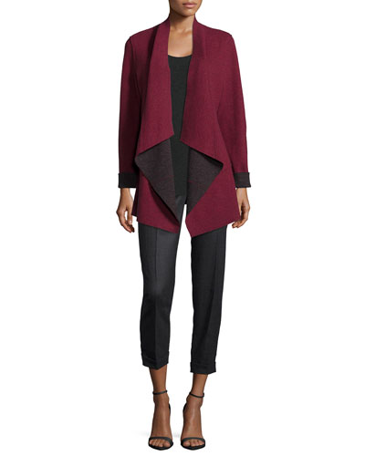 Merino Double-Knit Kimono Jacket & Long-Sleeve Jersey Cozy Tee, Petite