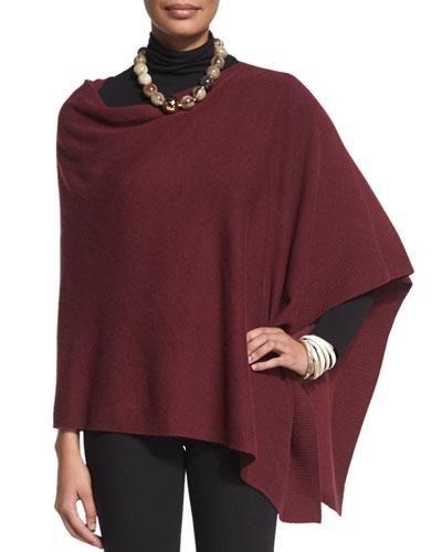 Cozy Wool Poncho, Scrunch-Neck Long-Sleeve Top & Boot-Cut Ponte Pants, Women