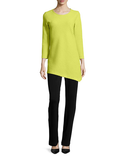 3/4-Sleeve Ottoman Angled Tunic & Flat Knit Wool Pants, Women