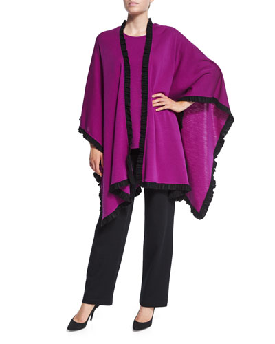 Colorblock Wrap W/ Ruffled Trim, 3/4-Sleeve Flat Wool Knit Top & Flat Knit Wool Pants