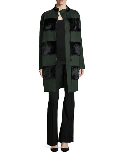 Hillary Coat with Fur Panels & Bailee Flare-Leg Pants
