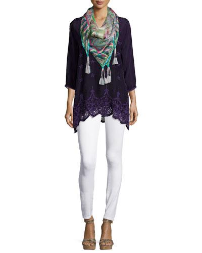 Jordee 3/4-Sleeve Georgette Tunic & Paisley-Print Silk Scarf, Women