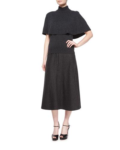 Cashmere Capelet/Top & Flannel Trumpet Midi Skirt