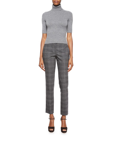 Half-Sleeve Cashmere Turtleneck Sweater & Slim-Leg Plaid Flannel Pants