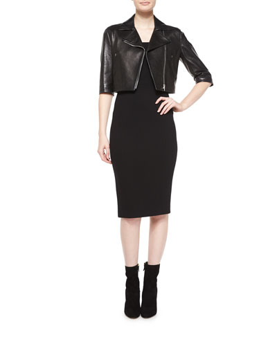 Half-Sleeve Crop Leather Jacket & Off-The-Shoulder Sheath Dress