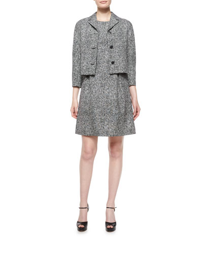 3/4-Sleeve Tweed Jacket & Sleeveless Tweed Bell Dress