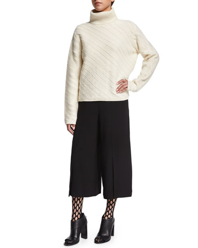 Turtleneck Floating-Fringe Sweater, Wide-Leg Culotte Pants & Oversized-Fishnet Tights