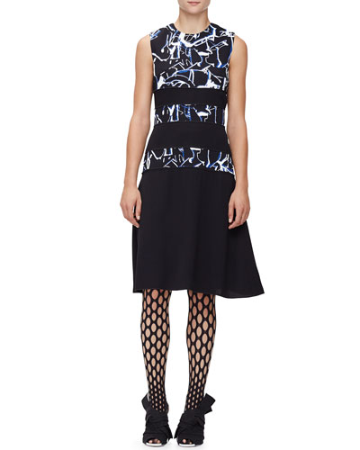 Sleeveless Scribble-Print Dress & Oversized-Fishnet Tights
