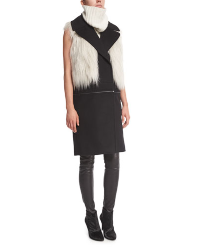 Lilian Faux-Fur Vest, Willa Vest W/Removable Bottom, Sleeveless Knit Sweater & Roxanna Skinny Leather Pants
