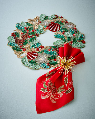 Frosted Pine Placemat & Napkin; Atomic Napkin Ring
