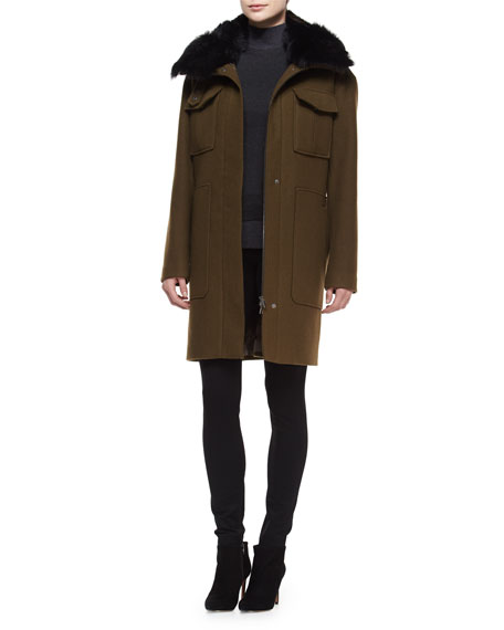 Theory Yvoia Bolton Coat W/Fur Trim, Army