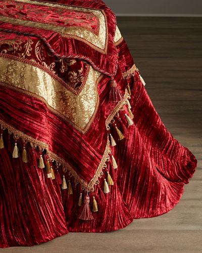 Burgundy & Gold Velvet Table Linens