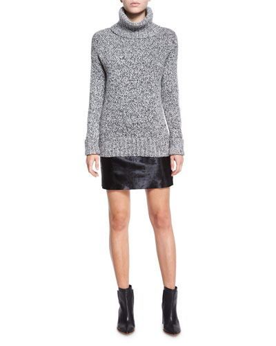 Wyndora Marbal Wool Sweater & Ketill Sonoran Leather Mini Skirt