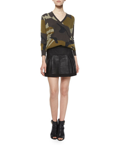 Camo-Print Cashmere V-Neck Sweater & Leather-Taped Suede Skirt