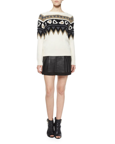 Wool/Cashmere Fair Isle Sweater & Leather-Taped Suede Skirt