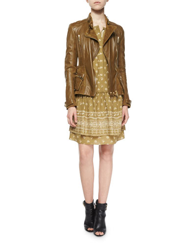 Broadwill Leather Biker Jacket & Leila Bandana Drop-Waist Shirtdress