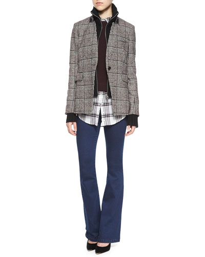 Plaid Jacket with Upstate Dickey, Mohawk Layered Sweater & High-Waist Denim Trousers