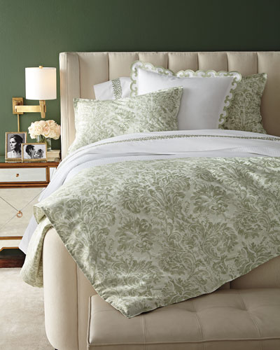 Watercolor Damask Bedding & 500TC Embroidered Scroll Sheets
