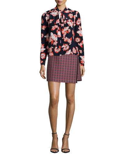 Allen Floral-Print Tie-Neck Blouse & Lara Plaid Jacquard Mini Skirt