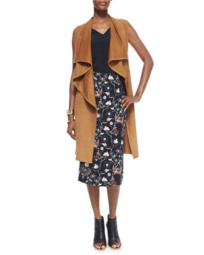 Elem Drape-Front Leather Vest & Daniels Floral-Print Silk Skirt