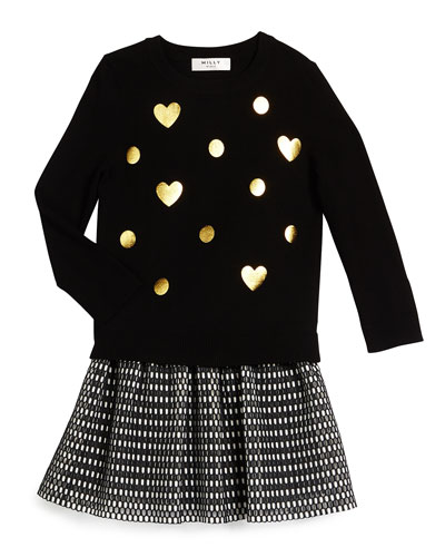 Foil-Print Crewneck Sweater & Couture Mesh Skirt