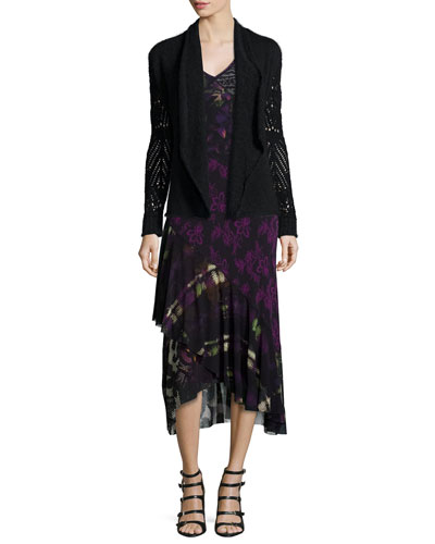 Open-Weave Wool-Blend Wrap Cardigan & Sleeveless V-Neck Floral Mixed Dress