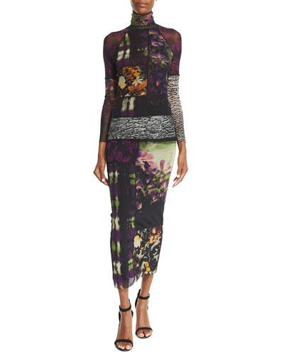 Mixed-Print Long-Sleeve Turtleneck & Mixed-Print Straight Maxi Skirt
