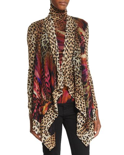 Leopard/Feather Printed Tulle Cardigan & Turtleneck