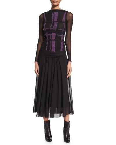 Sheer-Sleeve Fuzzy-Grid Top & Long Full Mesh Skirt