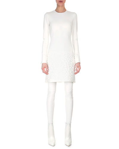 Textured Apron Neoprene Dress & Leather Stirrup Stockings
