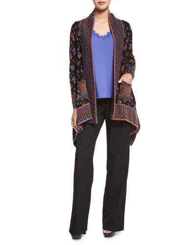 Long-Sleeve Printed Cardigan, Sleeveless V-Neck Tank W/ Lace Detail & Flare Trouser Pants