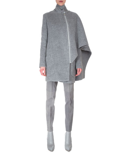 Asymmetric Draped Cape Jacket, Sheer-Seam Cashmere-Blend Top & Melissa Stretch Flannel Pleated Slim Pants