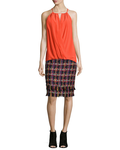 Faux-Wrap Halter Blouse & Jael Tweed Pencil Skirt