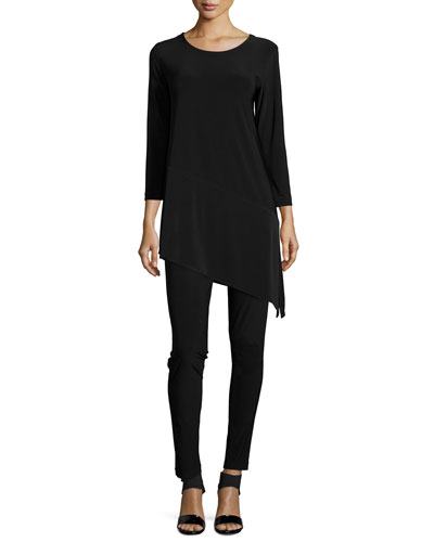 3/4-Sleeve Angled Long Tunic & Stretch-Knit Leggings