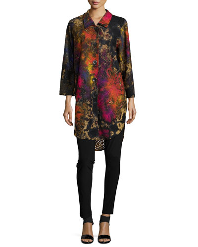 Painterly-Print Knit Button-Front Shirt & Stretch-Knit Leggings, Women