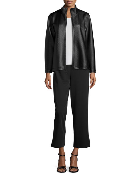 Caroline Rose Travel Gabardine Ankle Pants, Black