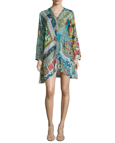 Dreamy Long-Sleeve Printed Tunic & Hip Layered Necklace, Women