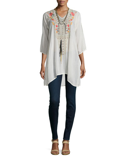 Cynthia 3/4-Sleeve Embroidered Tunic & Multi-String Long Tassel Necklace, Women