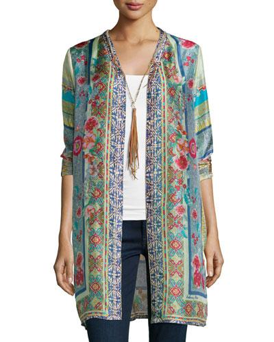 Karina Printed Silk Long Cardigan & Braided Long Tassel Necklace, Women