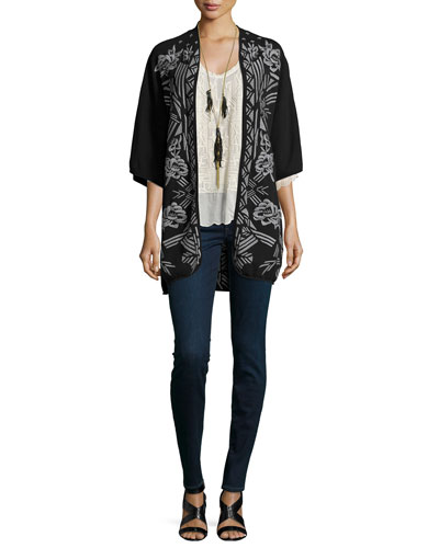 Nemara Embroidered Poncho, Clearwater Scoop-Neck Embroidered Top & Long Necklace W/ Tassels, Women