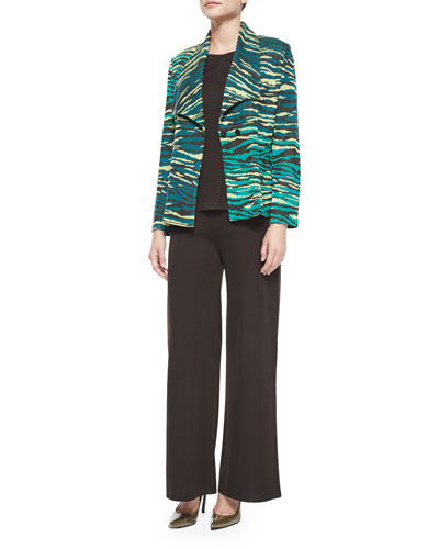 Textured Printed Jacket, Crewneck Knit Tank & Boot-Cut Knit Pants, Women's
