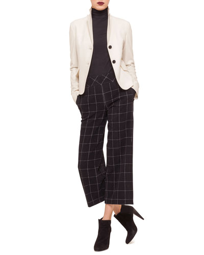Two-Button Flap-Pocket Blazer, Modal Jersey Turtleneck Top & High-Waist Windowpane Check Culottes