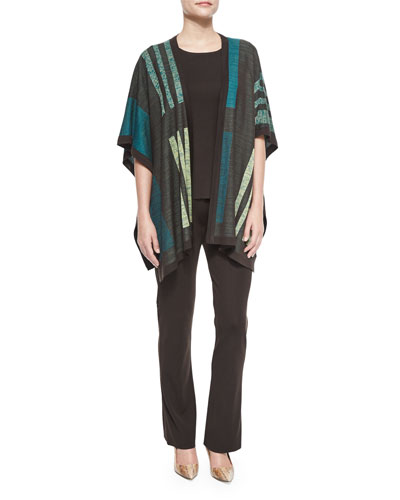 Multi-Pattern Cape Jacket, Crewneck Knit Tank & Boot-Cut Knit Pants, Women's