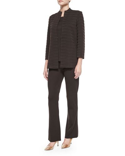 Textured Printed Jacket, Crewneck Knit Tank & Demi Palazzo Pants, Women